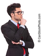 joven, pensativo, hombre de negocios