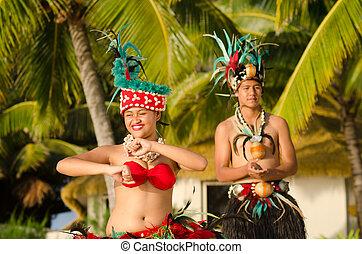 joven, polynesian, pacífico, isla, tahitiano, bailarines, pareja