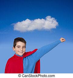 joven, preparado, superhombre