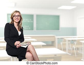 joven, profesor