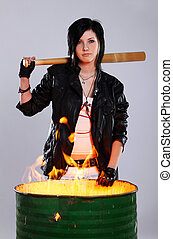 joven, punk, niña, con, bate de béisbol