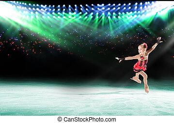 joven, rendimiento, patinadores, hielo, exposición