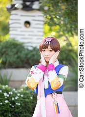 joven, retrato, mujer, disfraz, hanbok, sonrisa, coreano,...