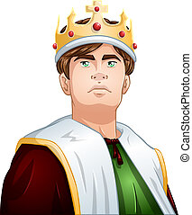 joven, rey, con, corona, hombros, arriba