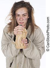 joven, sin hogar, alcohólico
