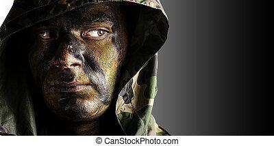 joven, soldado, cara