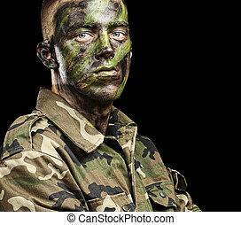 joven, soldado, retrato