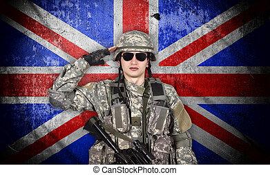 joven, soldado, salutes