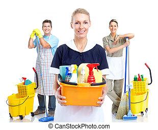 joven, sonriente, limpiador, woman.