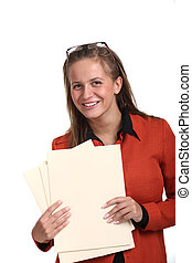 joven, sonriente, mujer de negocios, tenencia, archivos