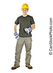 joven, trabajador construcción, sonriente