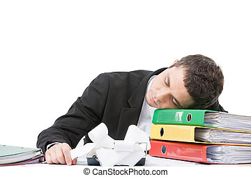 joven, trabajador, sentar escritorio, y, sleeping., cansado,...