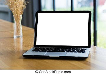 joven, trabajando, hombre de negocios, utilizar, un, computadora de escritorio, de, el, pantalla en blanco