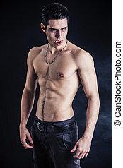 joven, vampiro, shirtless, cámara, el gesticular, hombre