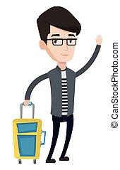joven, vector, illustration., hombre, autostop