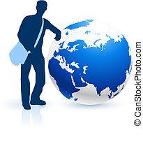 joven, viajero, internet, plano de fondo, con, globo