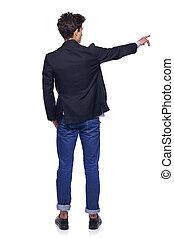 joven, vista, espalda, hombre señalar con el dedo