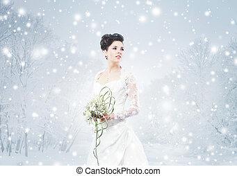 joven, y, hermoso, novia, con, el, ramo de la flor, en, invierno, delantero