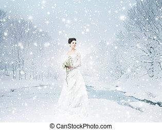 joven, y, hermoso, novia, posición, con, el, ramo de la flor, encima
