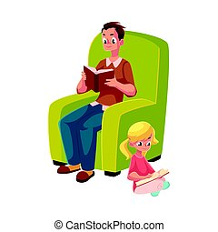 joven, y, niña, lectura, libros, sentado, piernas cruzaron