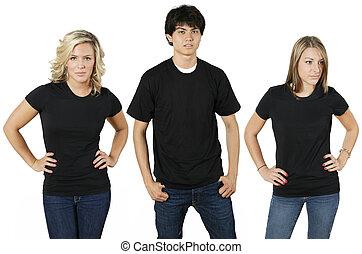 jovens, camisas, em branco