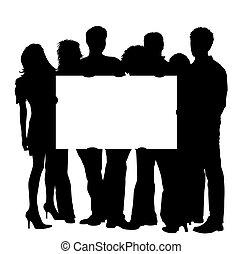 jovens, com, em branco, painél publicitário