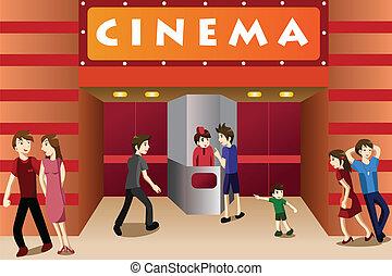jovens, pendurando, exterior, um, teatro filme