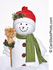 jovial, inverno, boneco neve