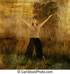 Woman in nature with arms and heart lifted to the sky. Photo based illustration.