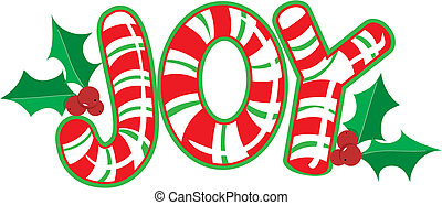 Joy Candy Cane - The word JOY shaped like a candy cane