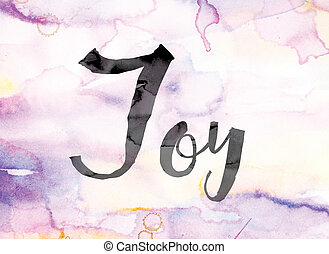 Joy Colorful Watercolor and Ink Word Art