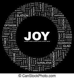 JOY. Word cloud illustration. Tag cloud concept collage.