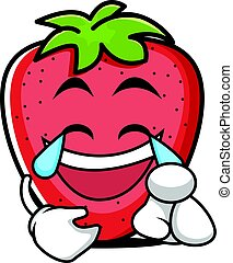 Joy face strawberry cartoon character