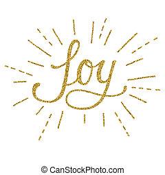 Joy gold lettering