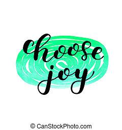 joy., lettering., escolher, escova