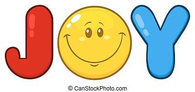 Joy Logo With Emoji Face Cartoon Character