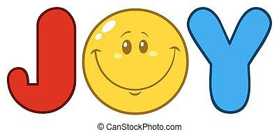Joy Logo With Smiley Face Cartoon Characte