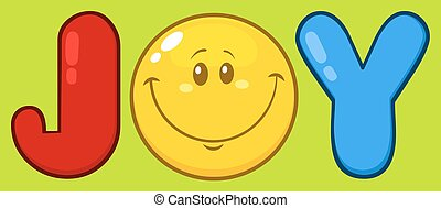 Joy Logo With Smiley Face Cartoon Character