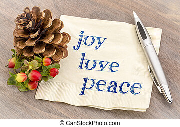joy, love, peace text on napkin