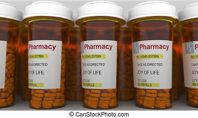JOY OF LIFE caption on pill prescription bottles, conceptual...