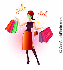 Joy Of Shopping - Illustration of a very happy, young woman...