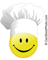 The joy of a smiley face cooking in a happy chef hat.