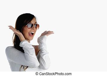 Joy - Beautiful girl screaming out of joy isolated on white
