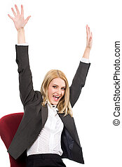 Portrait of pretty blonde laughing with her arms raised