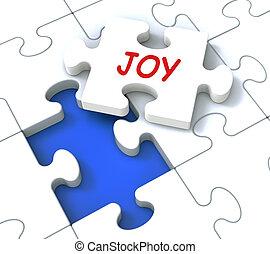 Joy Puzzle Showing Cheerful Joyful Fun Happy And Enjoy