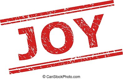 JOY Stamp Seal with Grunged Texture and Double Parallel Lines