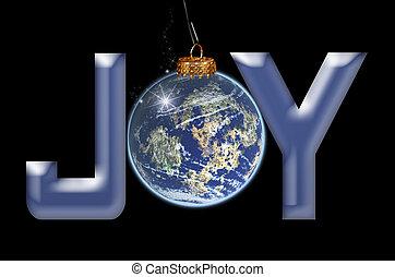 Christmas joy ornament on black.