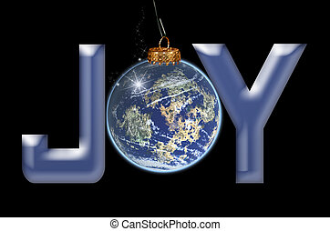 Joy To The World - Christmas joy ornament on black.