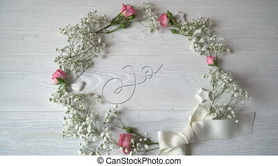 Joy Vintage Written animation word on round wreath with...