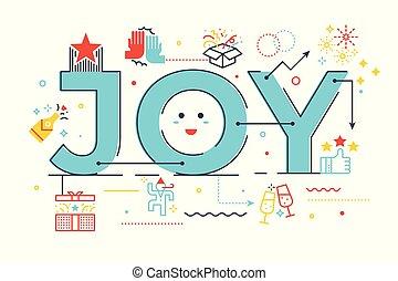 Joy word lettering illustration